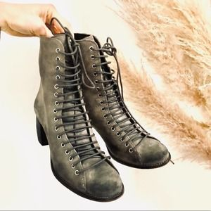 JEFFREY CAMPBELL Grey Suede Lace Up Combat Booties